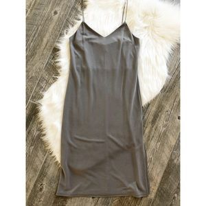 TOPSHOP Grey Simple Slip Dress